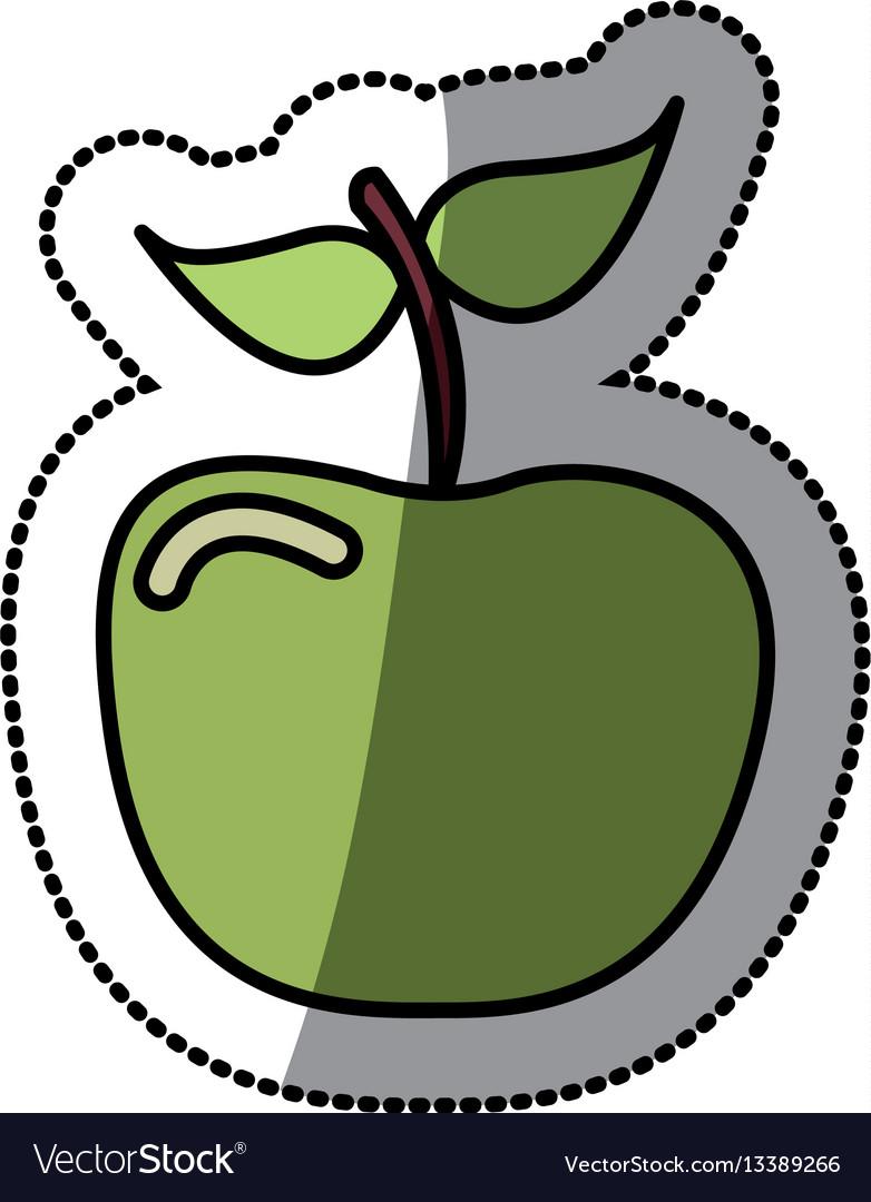 Green apple fruit icon stock