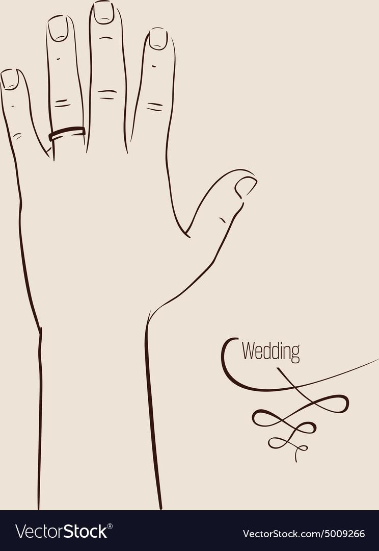 Man hand wearing a wedding ring drawing