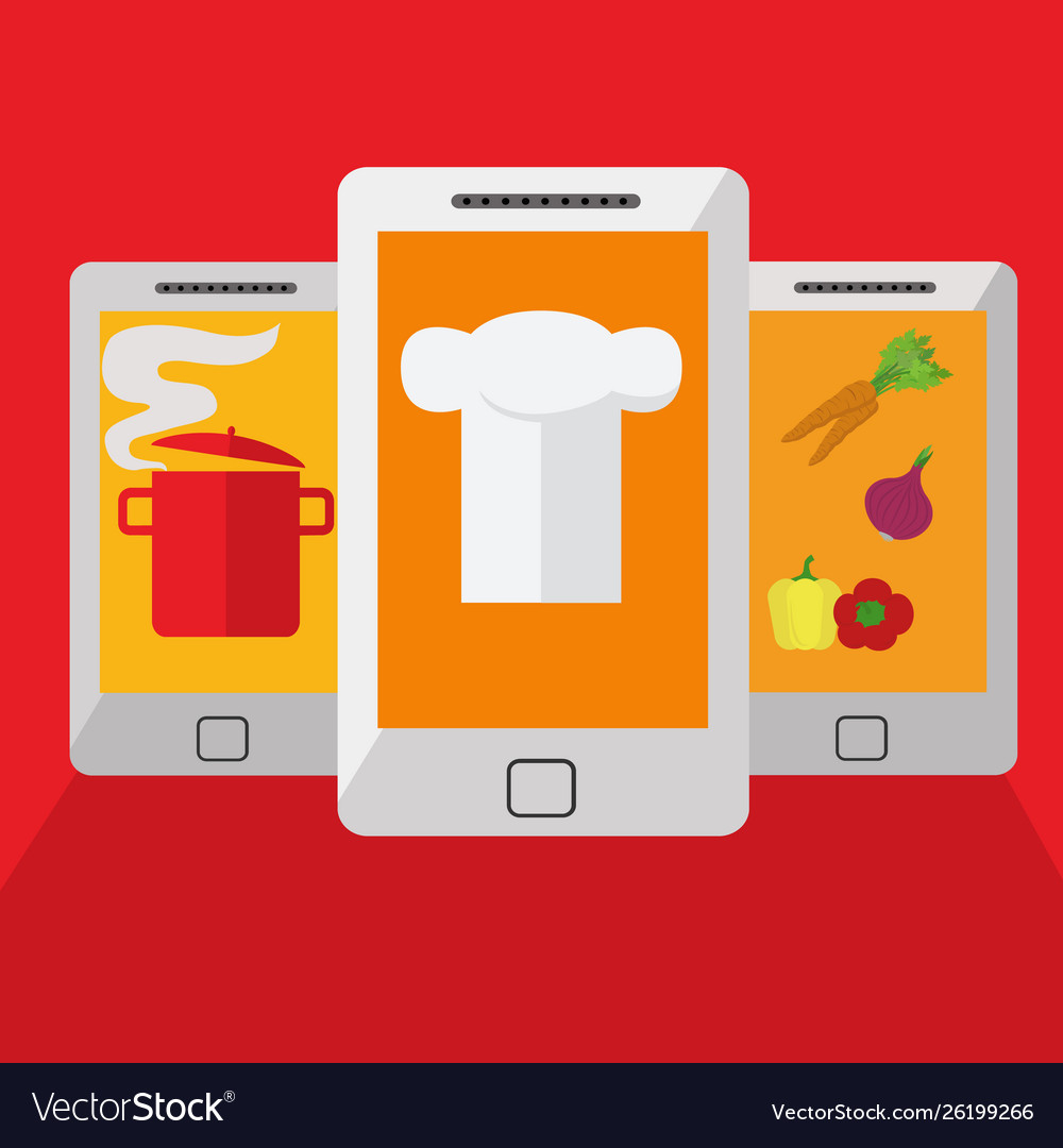Mobile app for cooking at home searching recipes