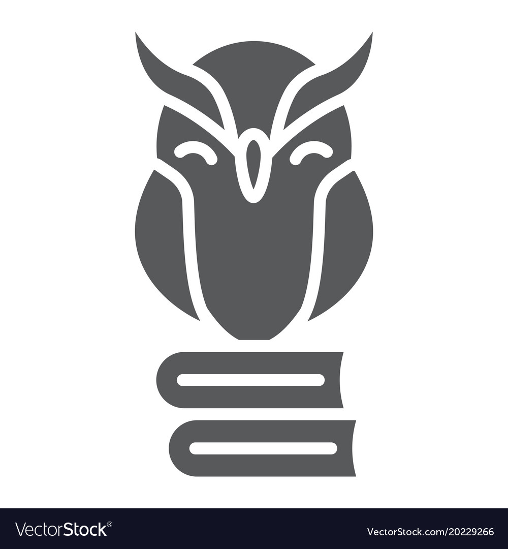 Owl on books glyph icon e learning and education
