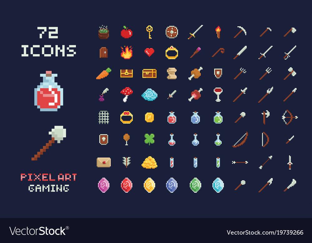 Pixel art game design icon video game