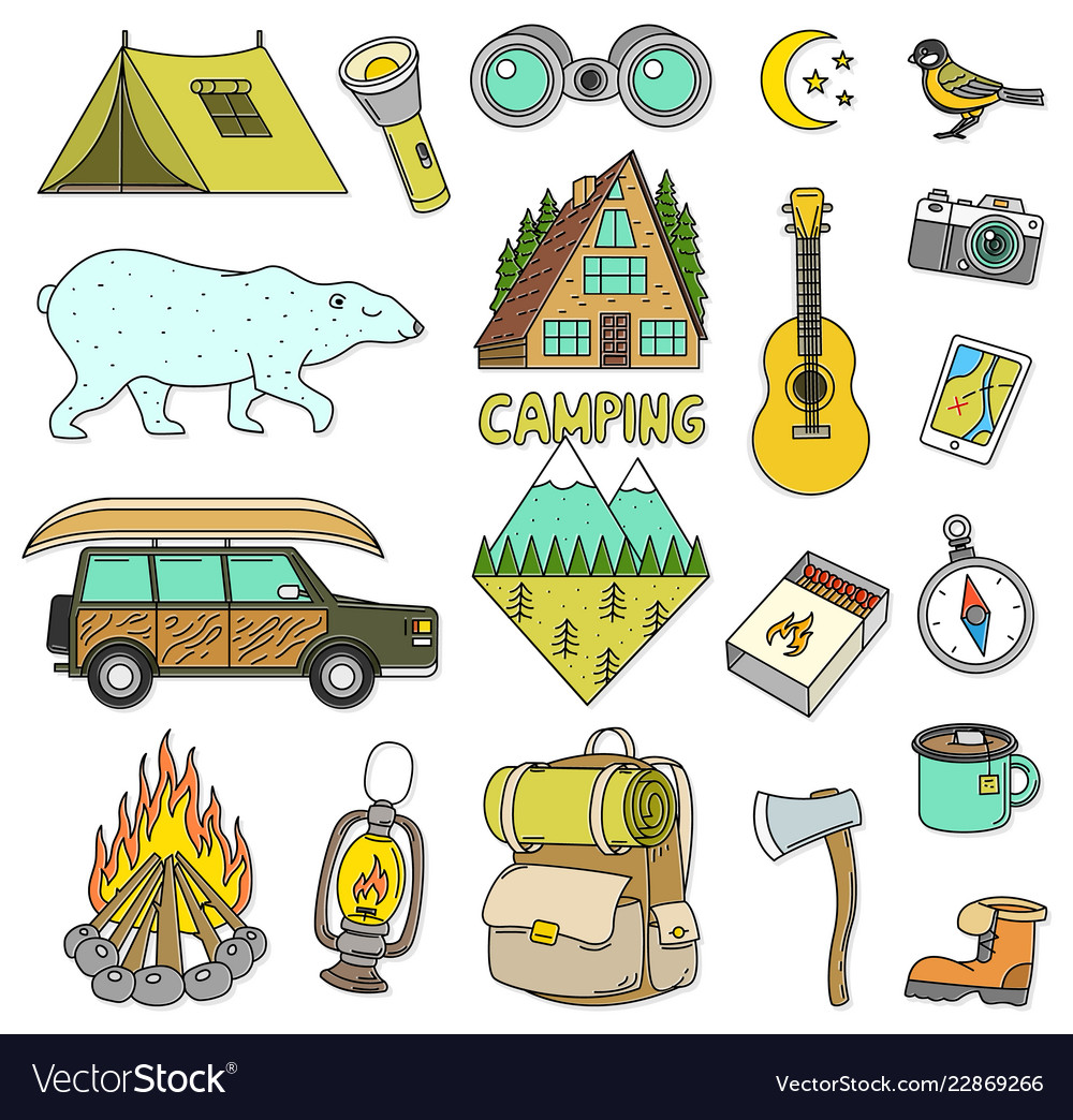 Set cute camping elements equipment in forest