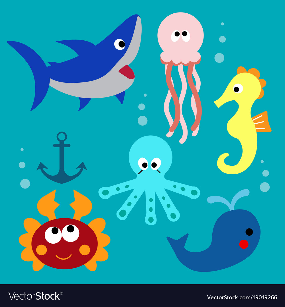 Set with cartoon fishs