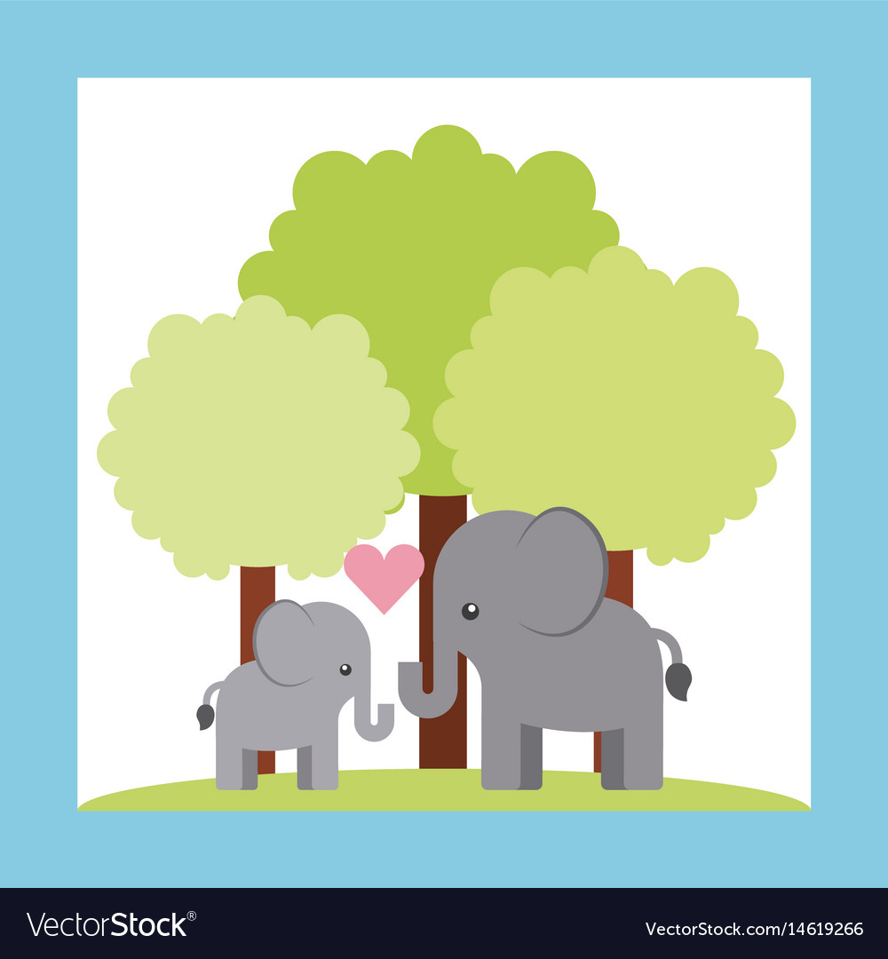893bcee55f74f Tender cute elephant card icon Royalty Free Vector Image