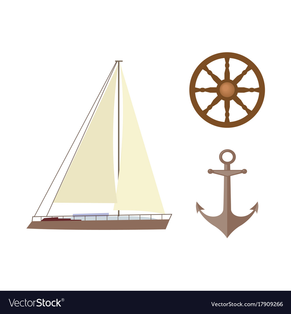 Vecotr flat cartoon nautical marine symbols set