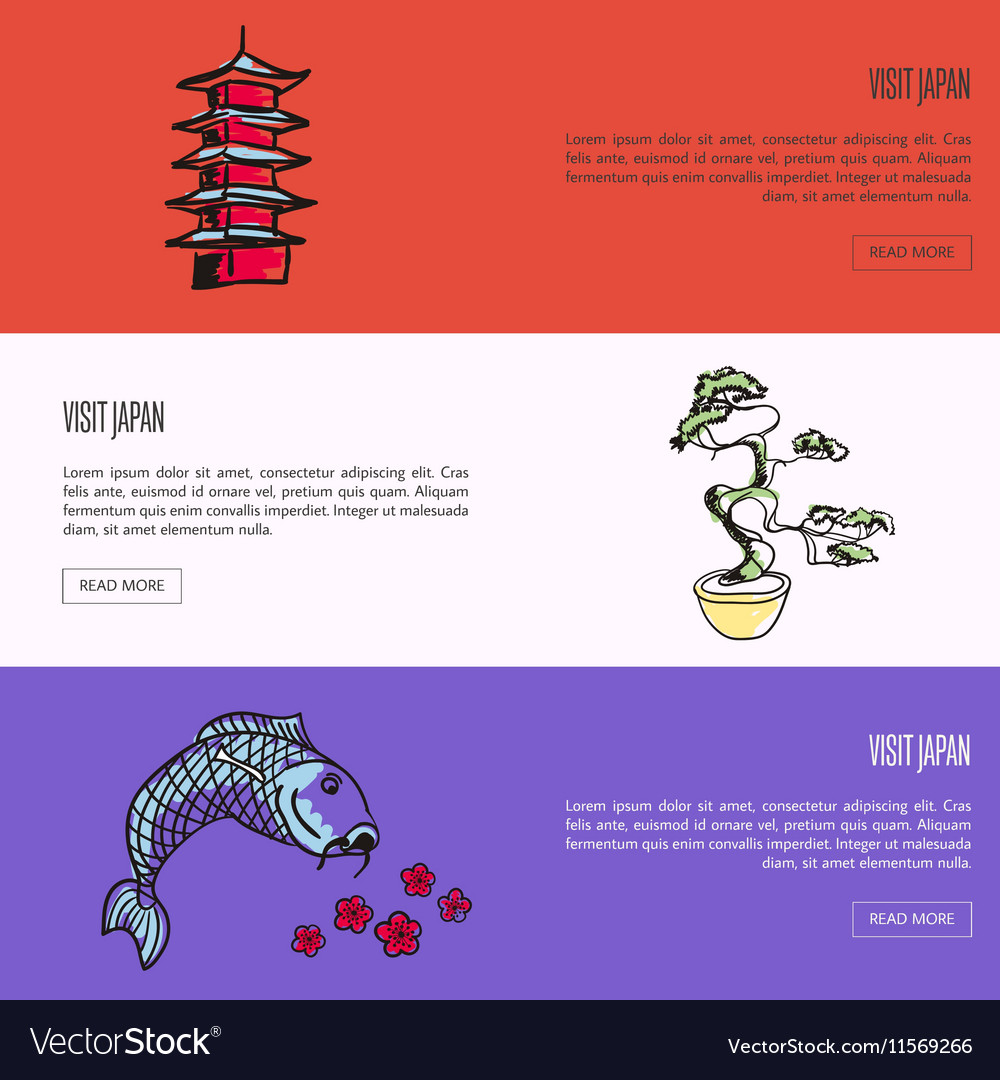 Visit Japan Touristic Web Banners Set