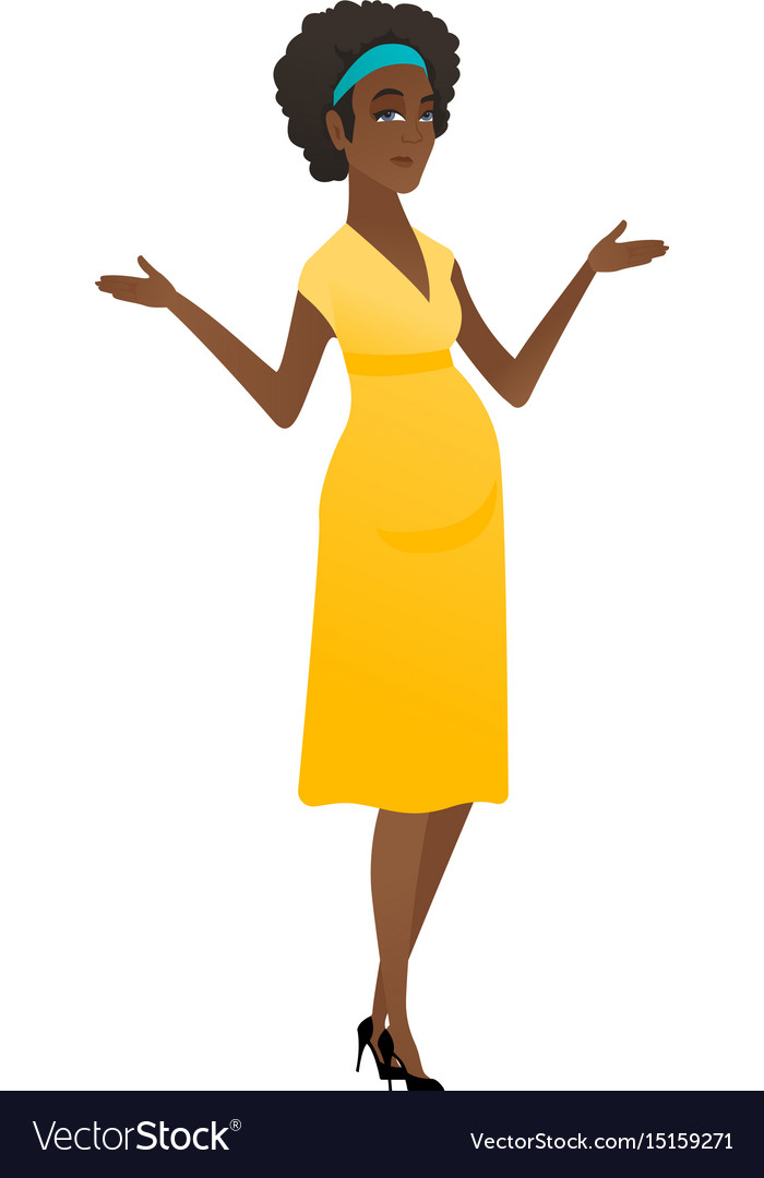 African confused pregnant woman with spread arms