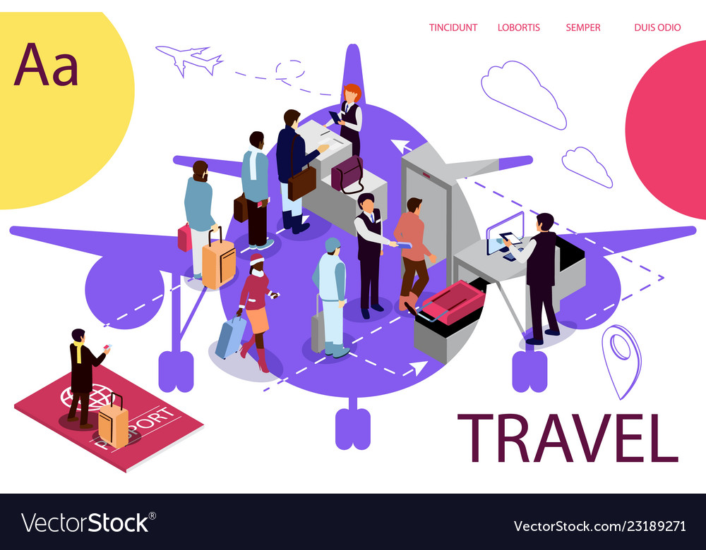 Airport isometric travel concept with reception