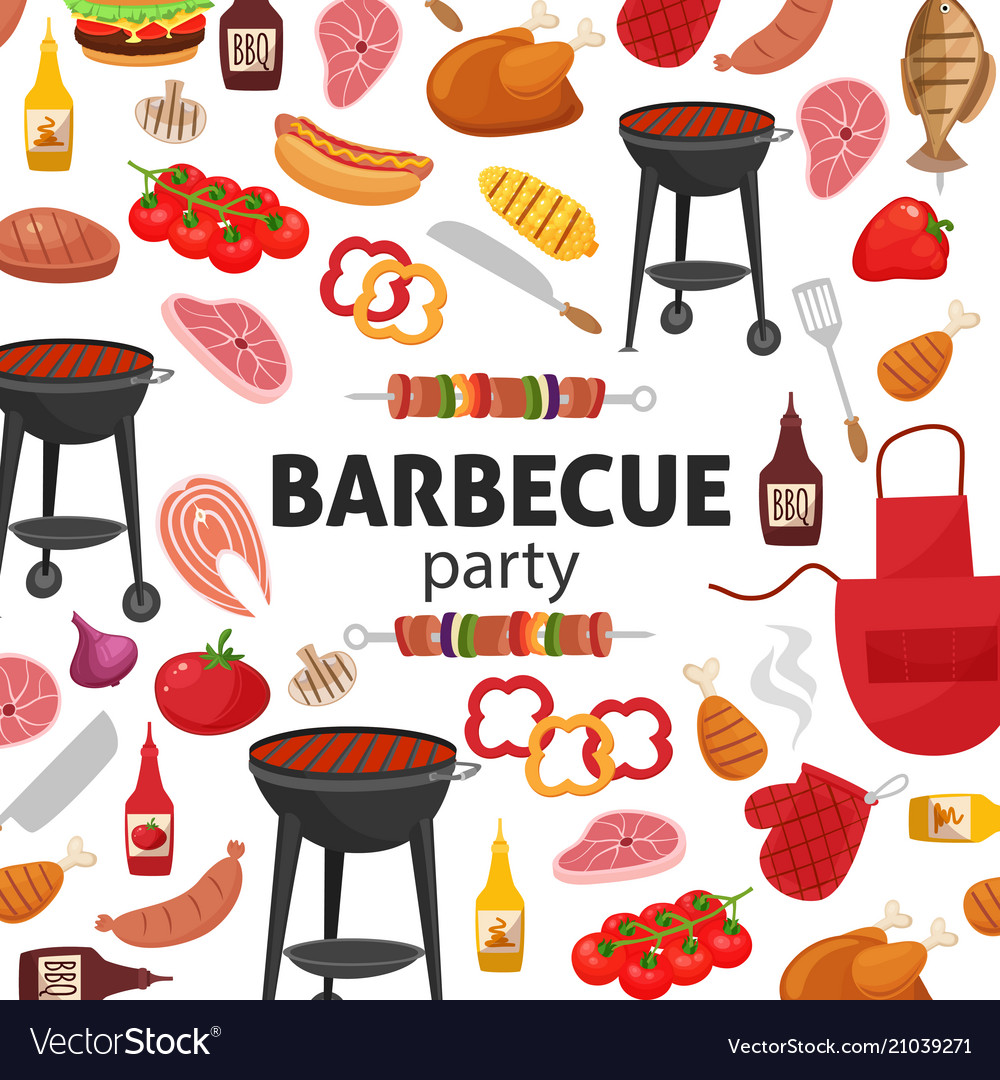 Barbecue party invitation bbq template menu