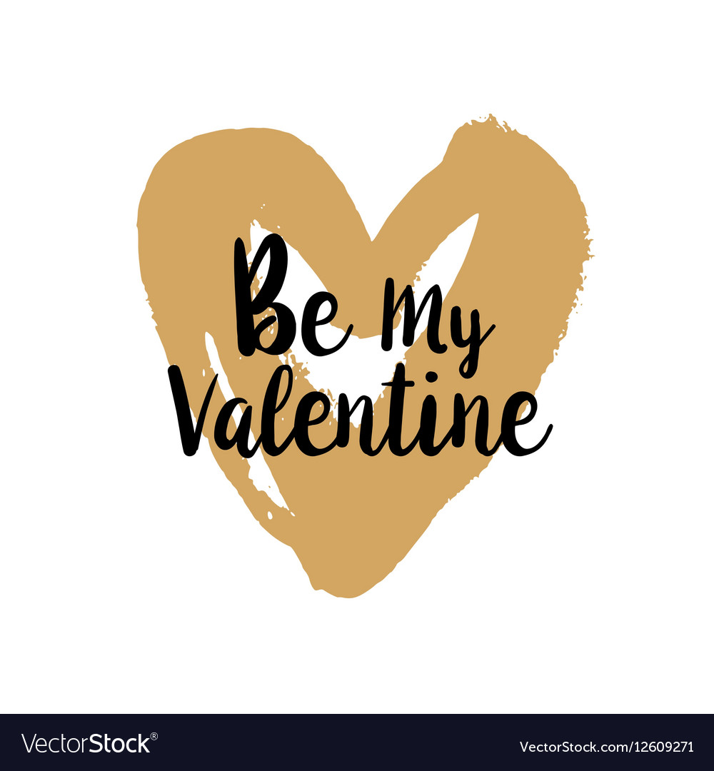 Be my Valentine on golden heart
