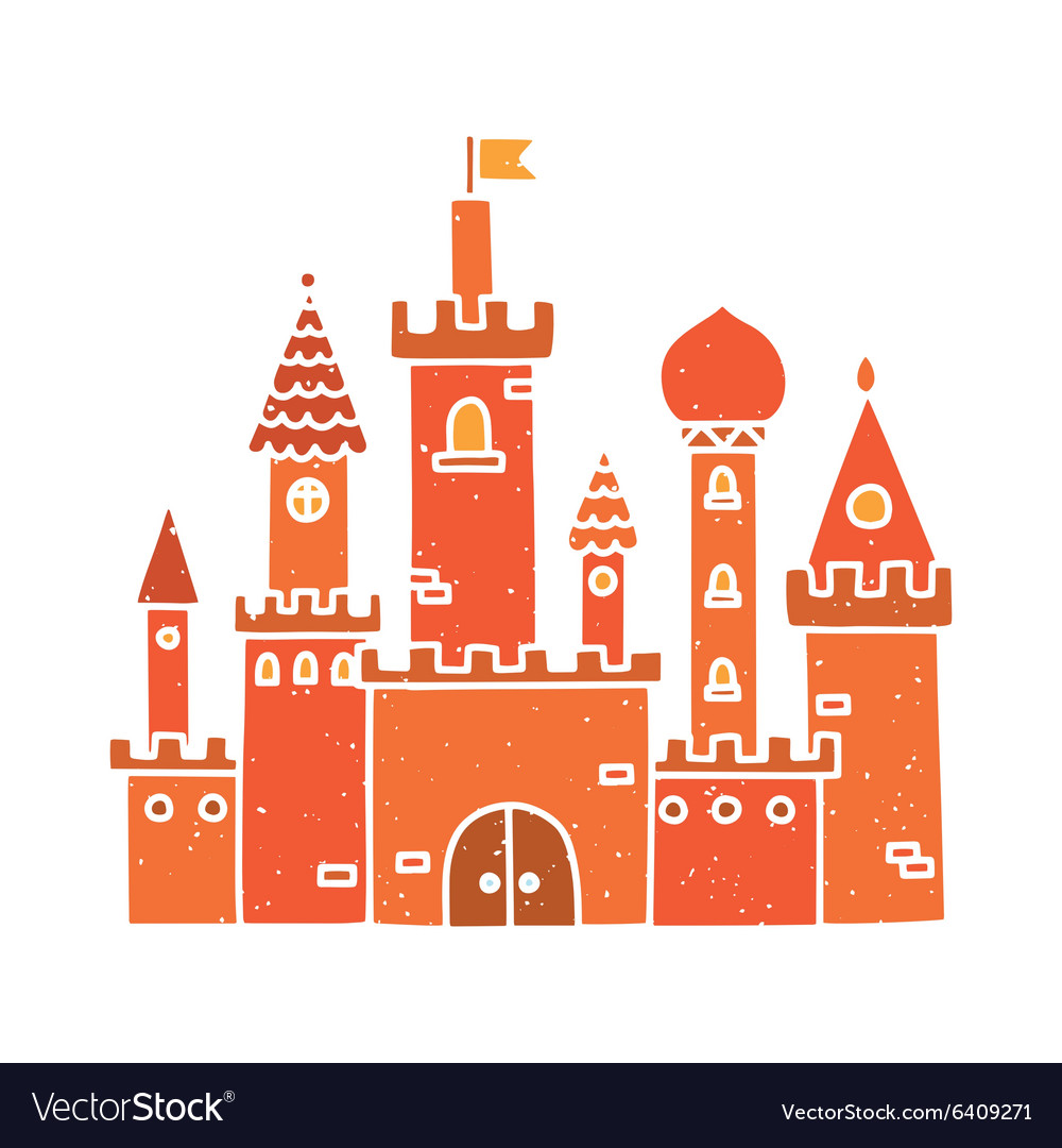 Cartoon castle isolated red
