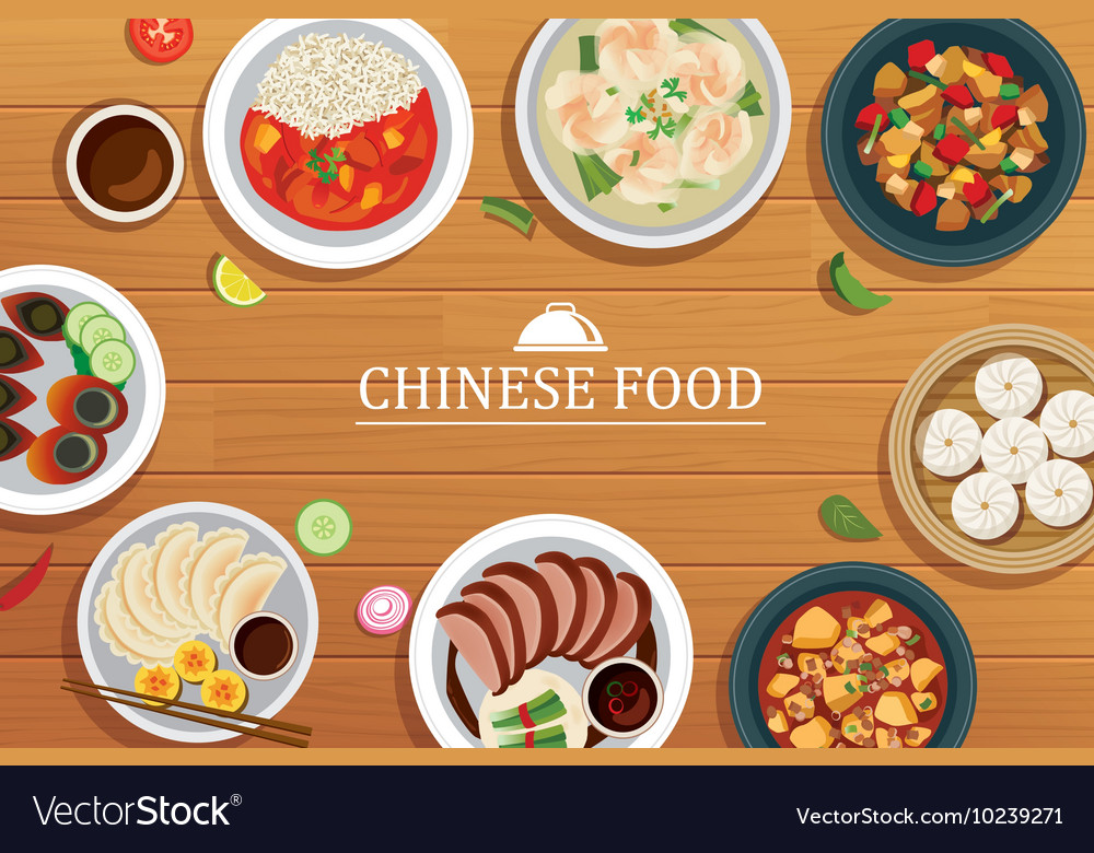 Chinese food on a wooden background chinese food