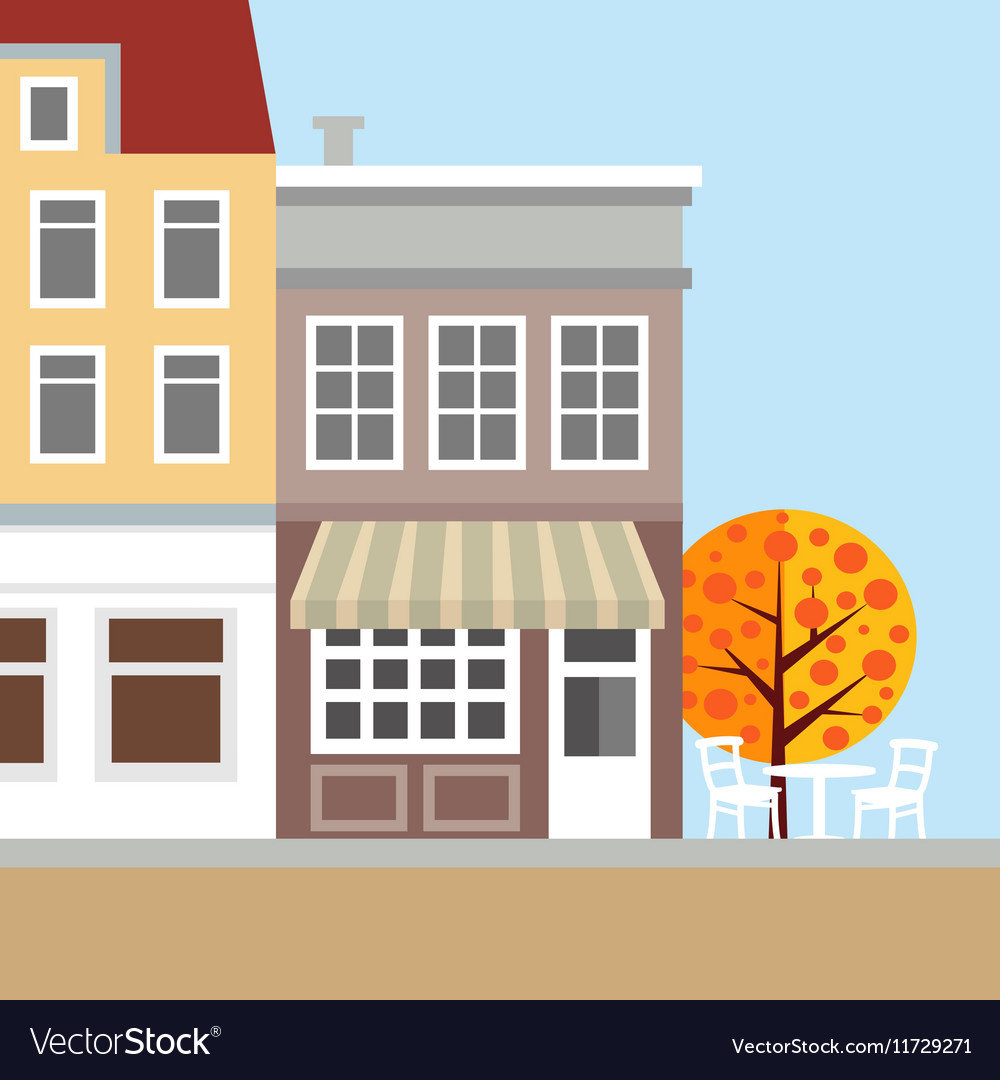 Cute background with old town houses Autumn
