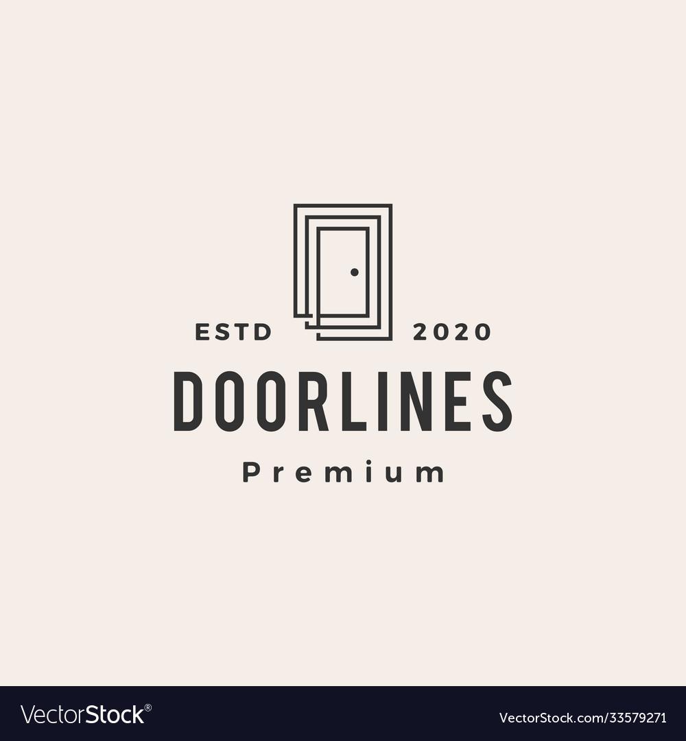 Door line outline hipster vintage logo icon