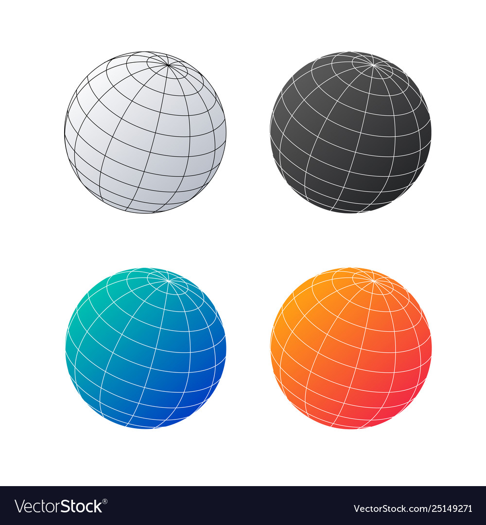Earth globe set planet in different colors