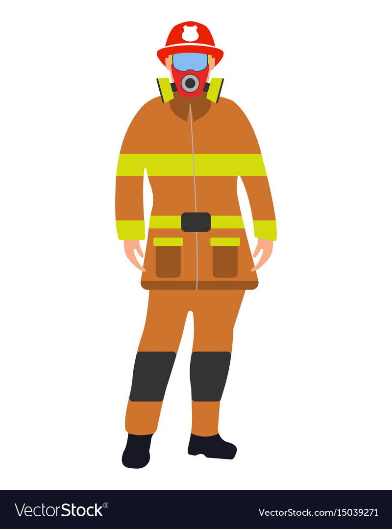 Fireman flat icon service 911 cartoon