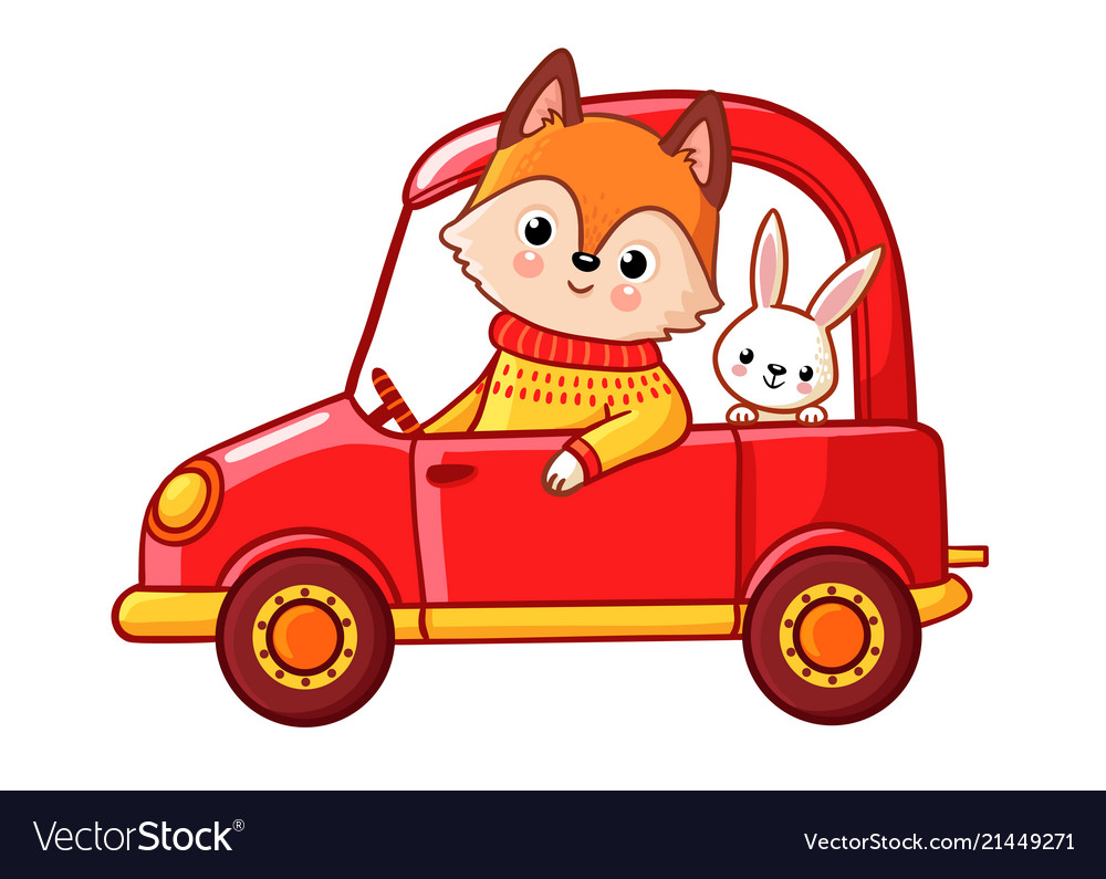 Fox with a hare ride on a red car