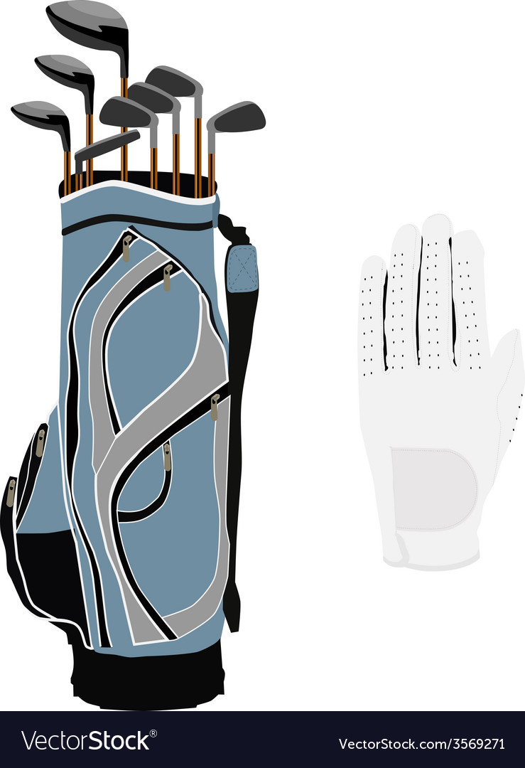 Golf clubs bag and white glove