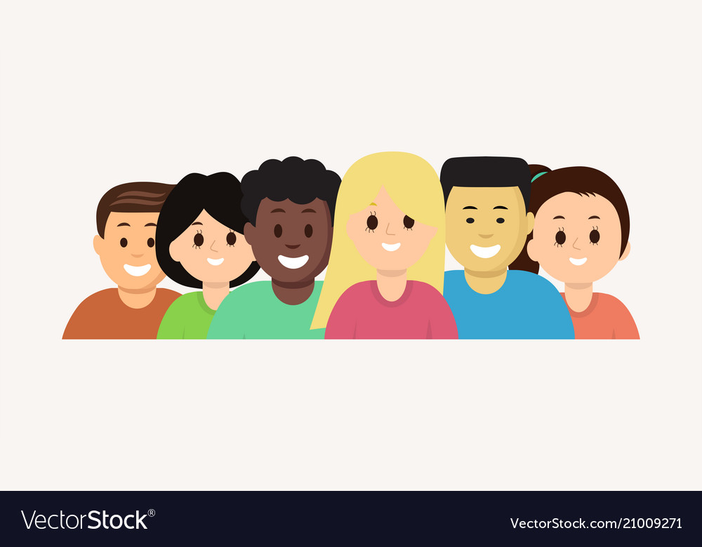 Group of cartoon face young people set