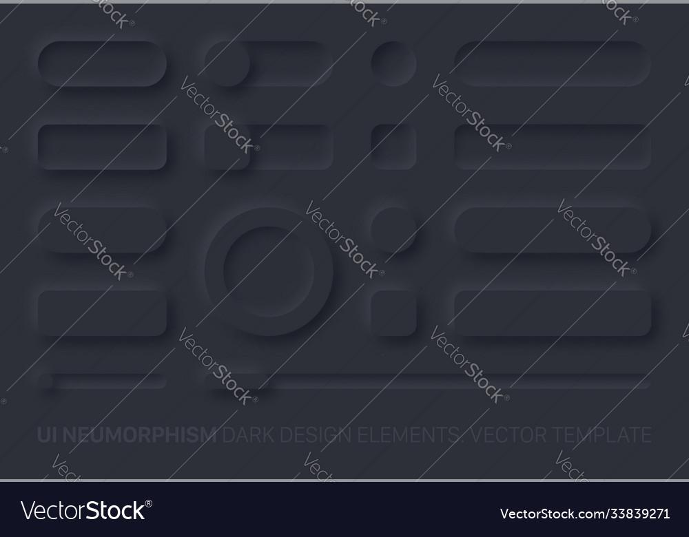 Neumorphic app dark ui design elements set