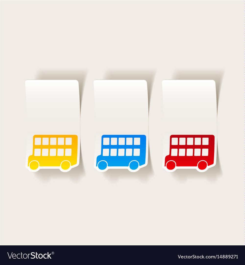 Realistic design element bus double decker