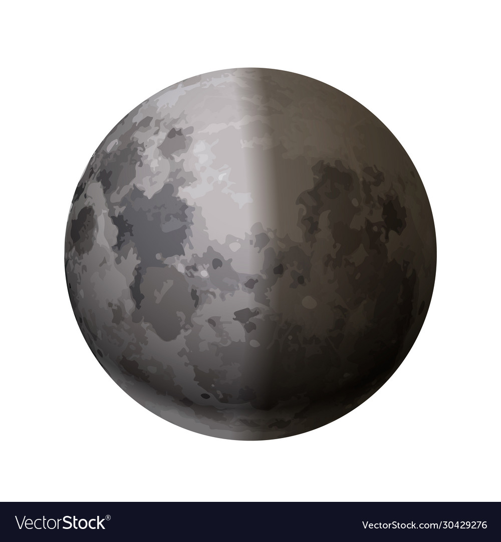 Bright realistic moon with half shadow on white