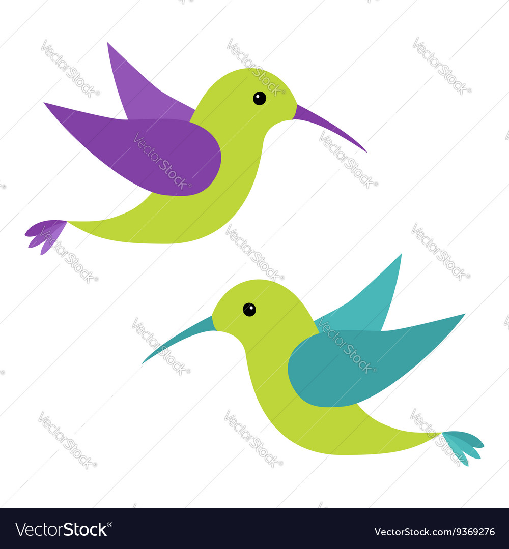 colibri flying bird icon set cute cartoon vector image rh vectorstock com flying bird cartoon drawing flying bird cartoon pics