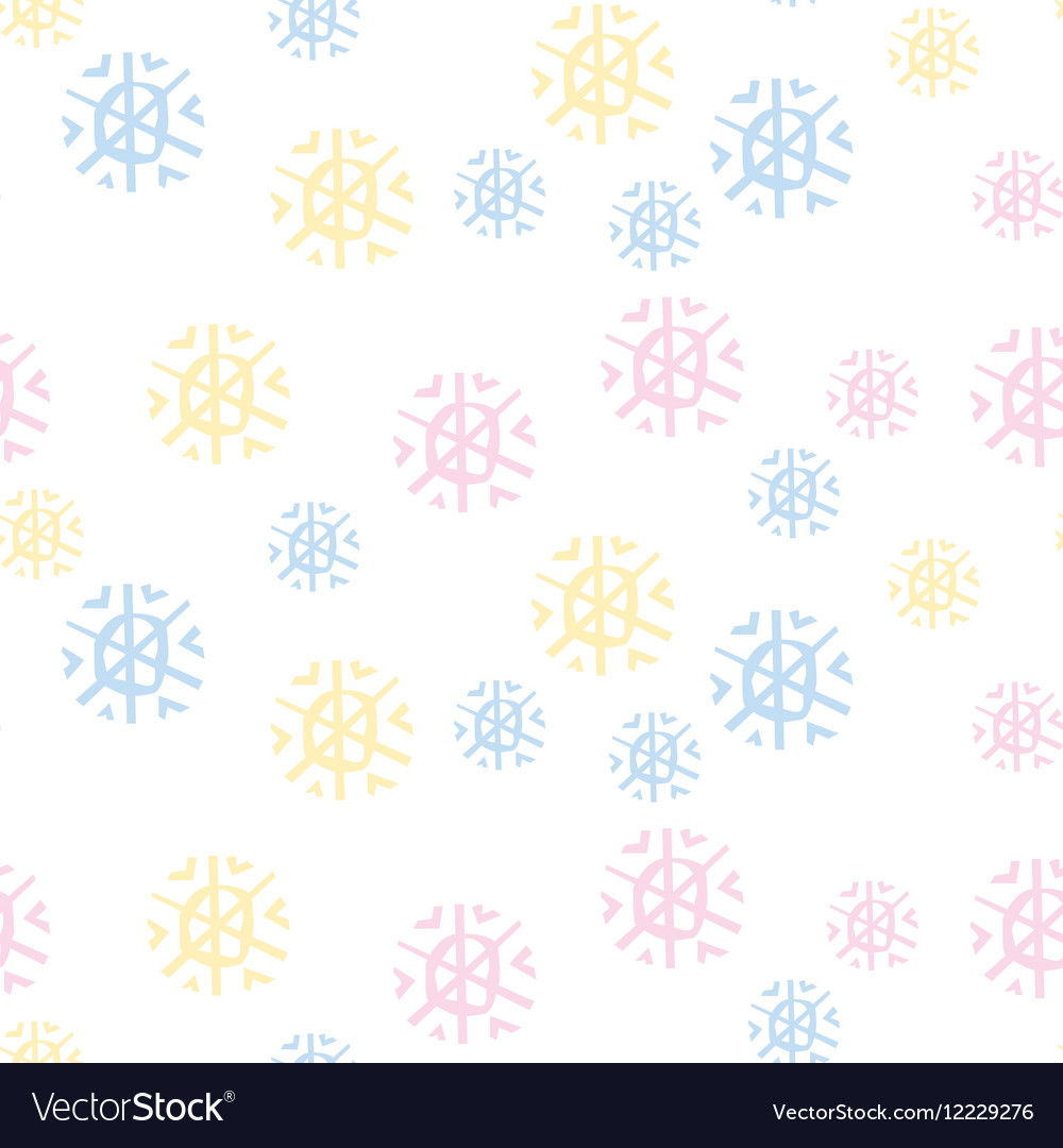 Cute pastel color snowfalkes semless pattern on vector image