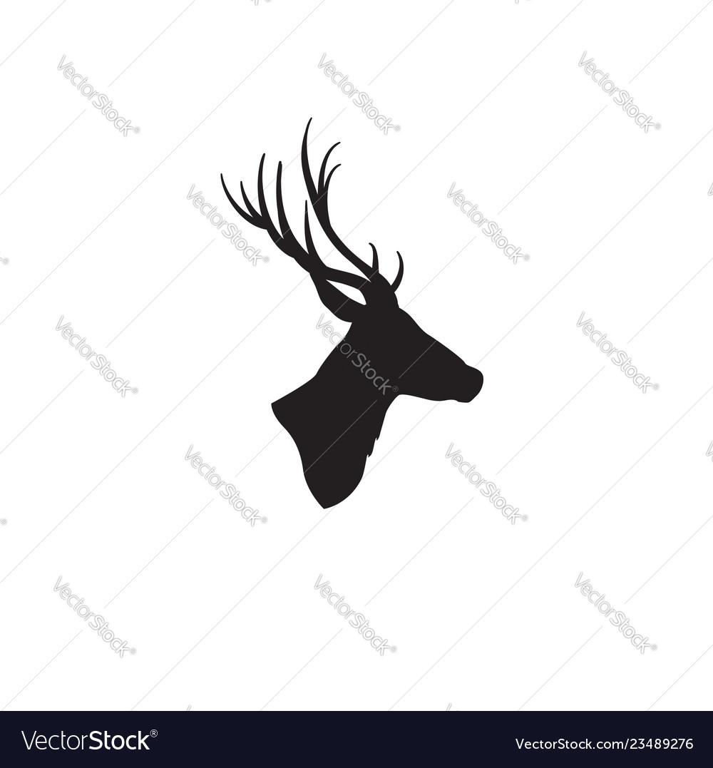 Deer head silhouette wild animal reindeer profile