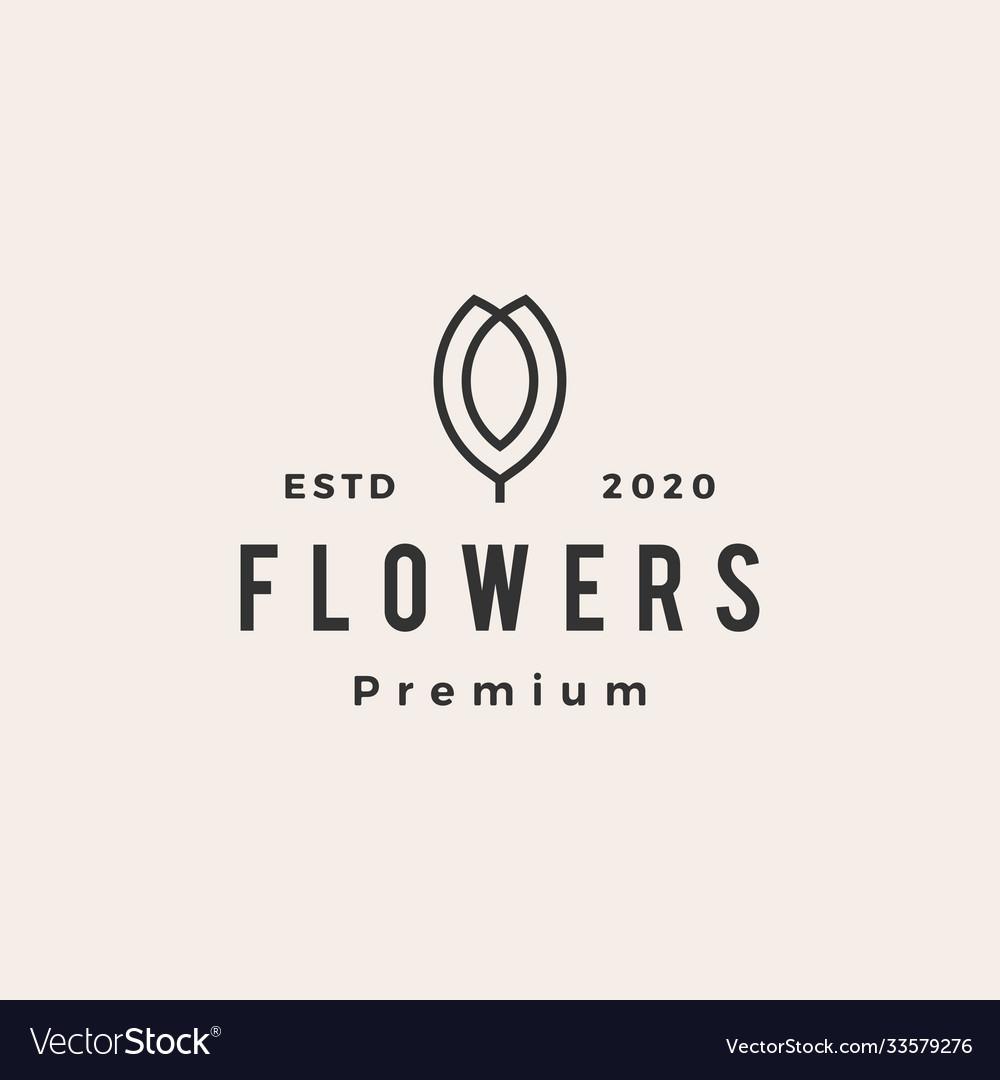 Flower hipster vintage logo icon