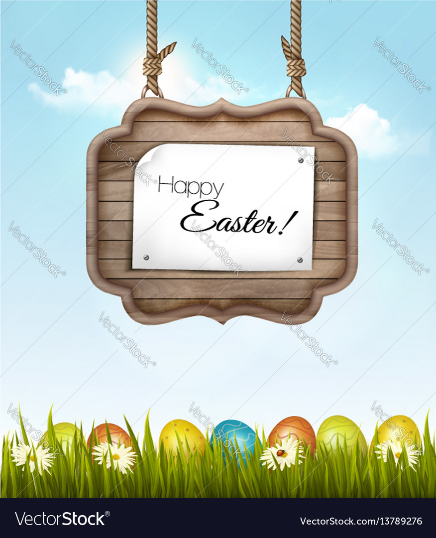 Happy easter background with colorful eggs and
