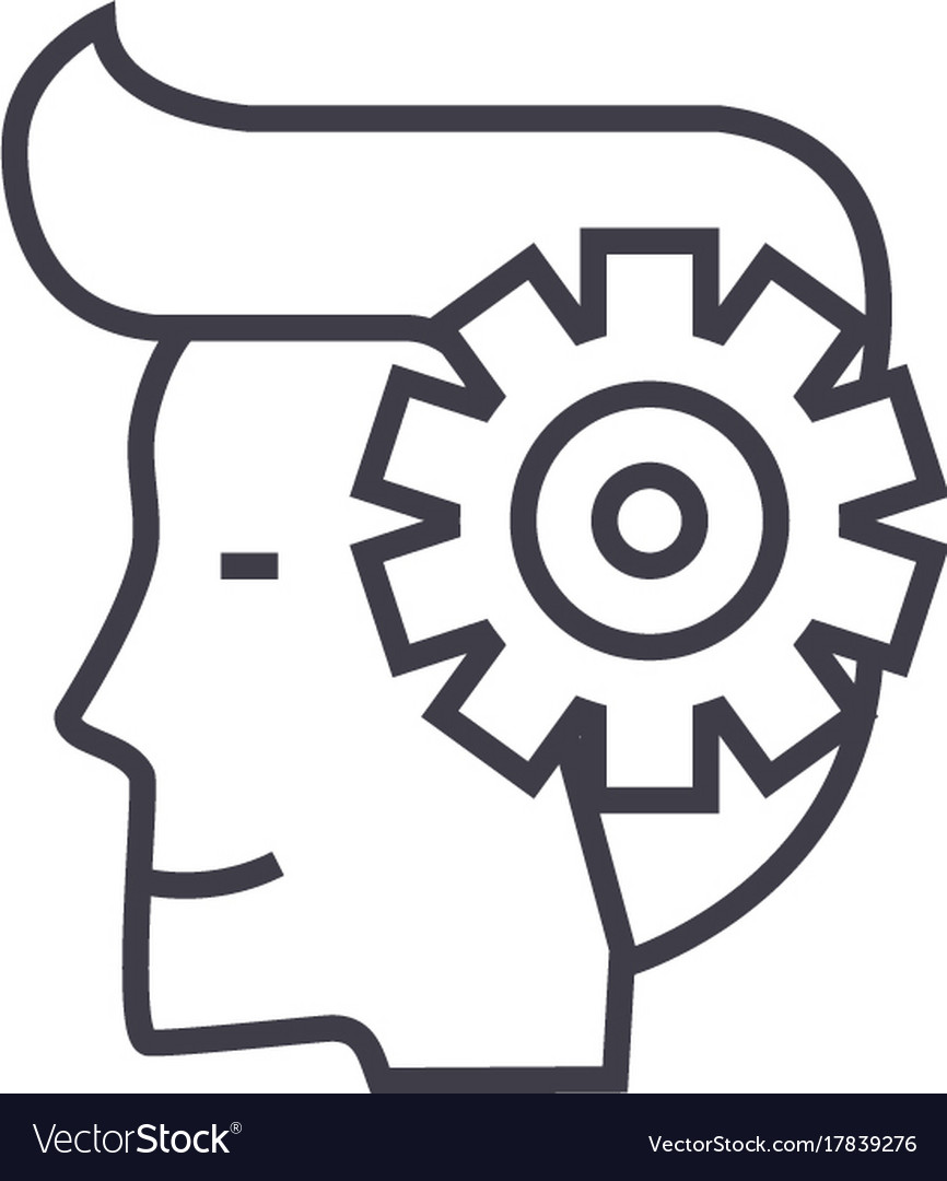 Mind processman with gears line icon sign