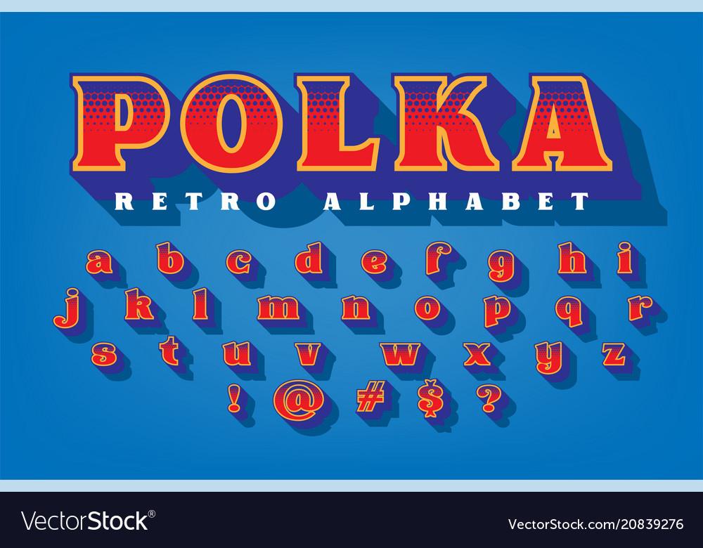 Polka retro style alphabet
