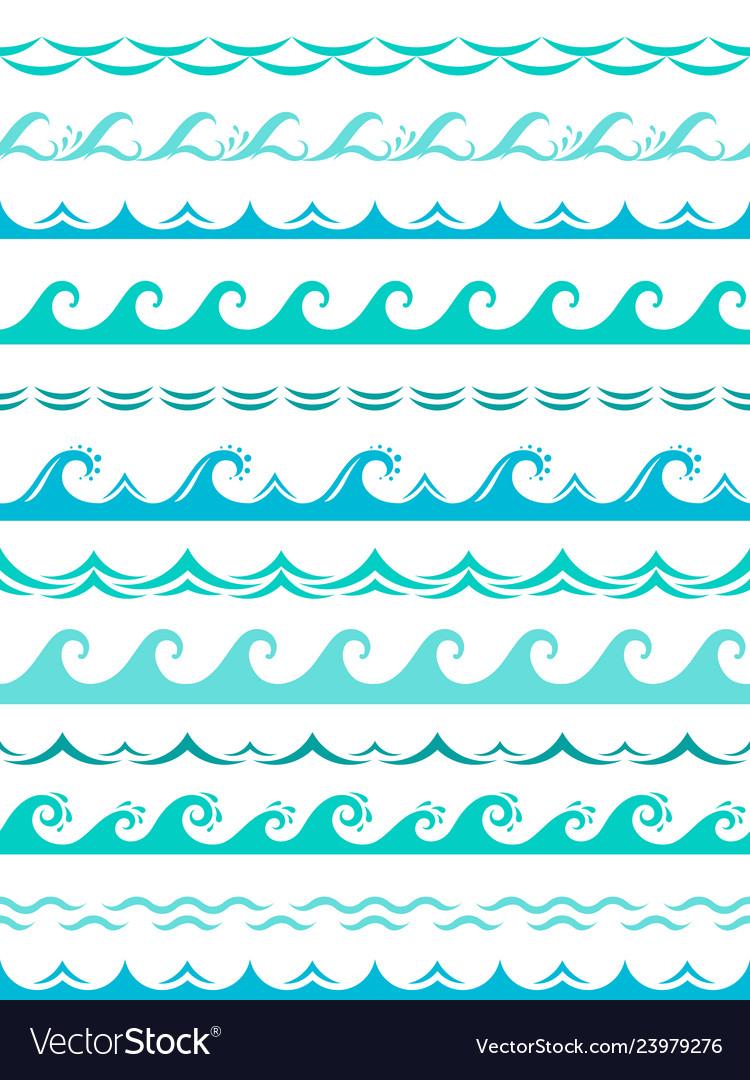 Sea wave borders seamless ocean storm waves wavy