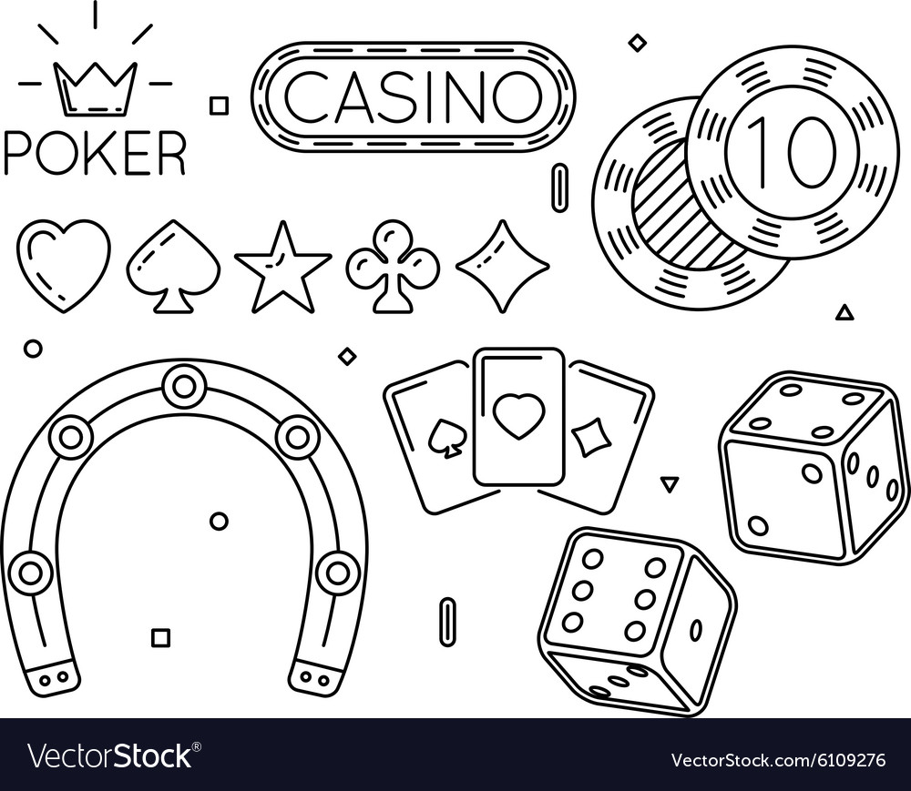 Set of casino and poker club line icons