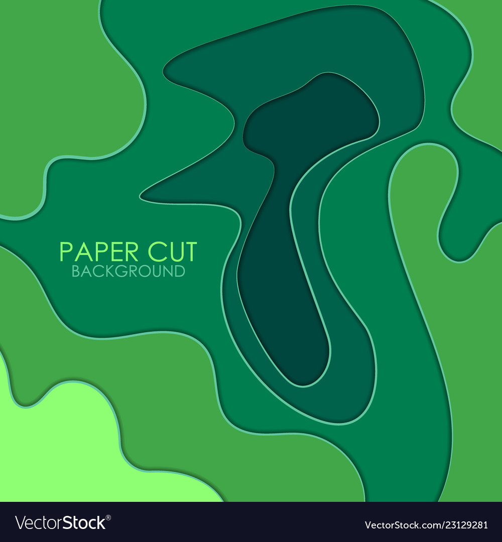 Abstract background with green paper cut shapes