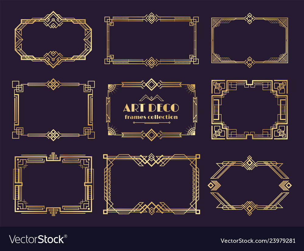 Art Deco Borders Set Golden 1920s Frames Nouveau Vector Image View 1,000 art deco border illustration, images and graphics from +50,000 possibilities. vectorstock