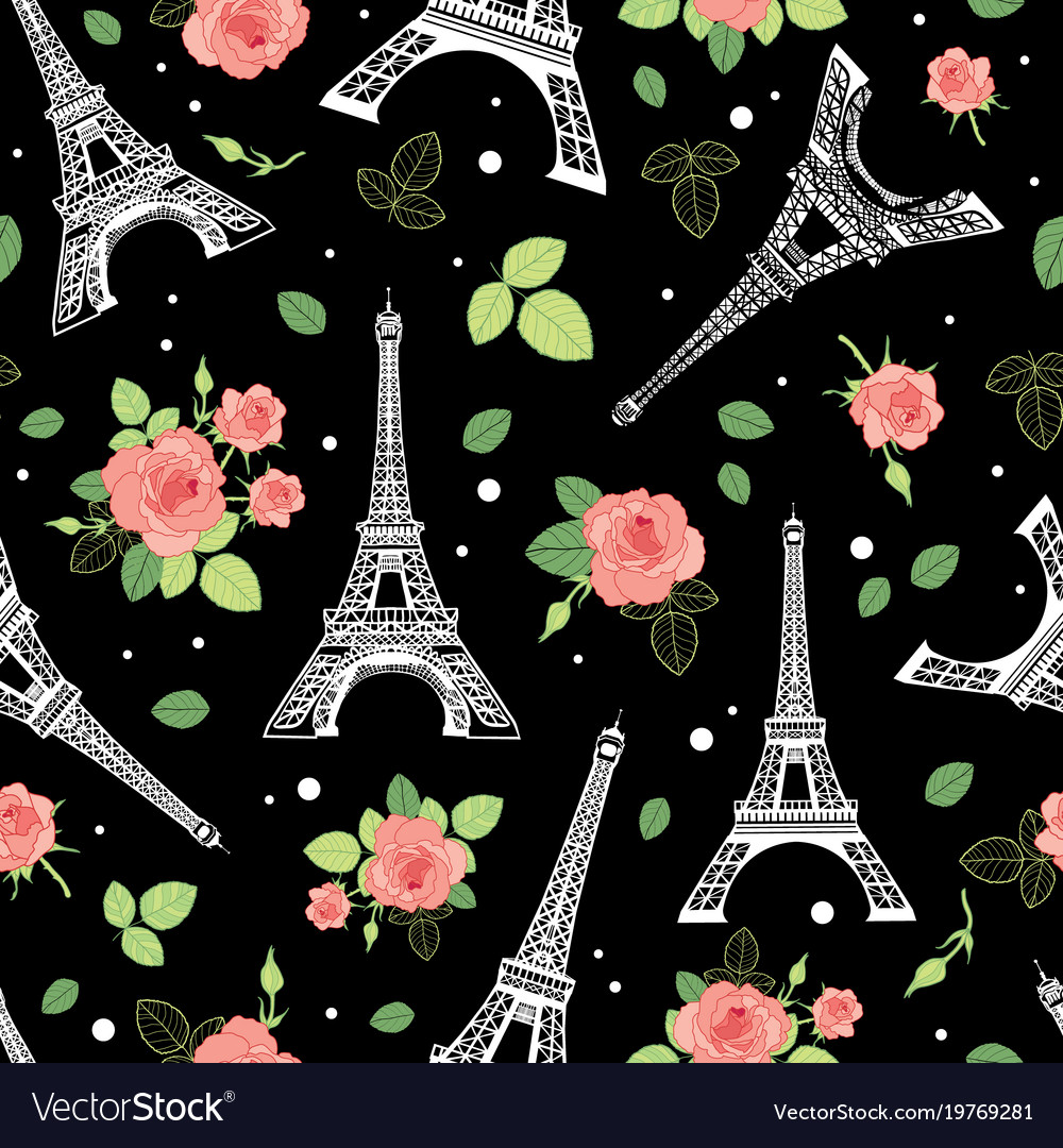 Black pink eifel tower paris and roses
