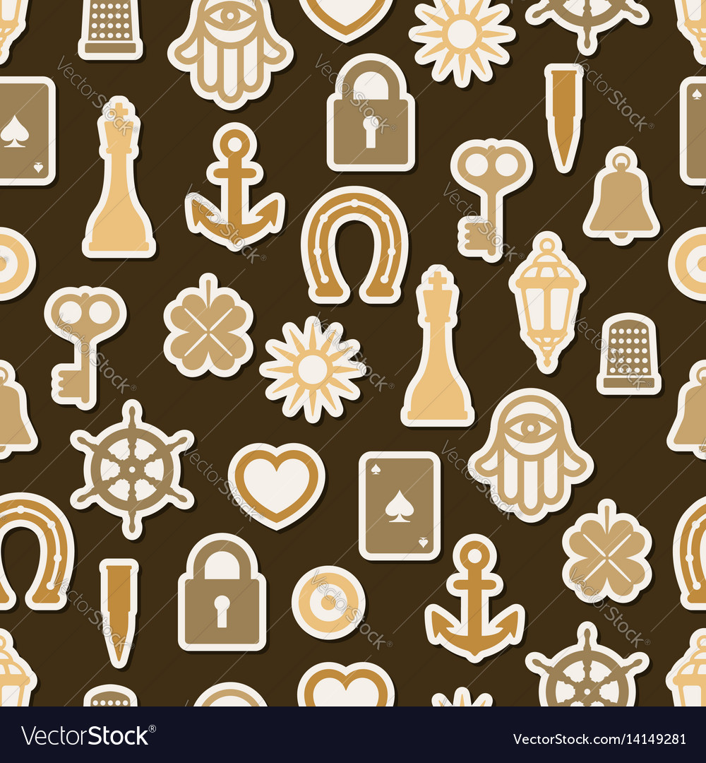Charm good luck symbols seamless pattern vector image