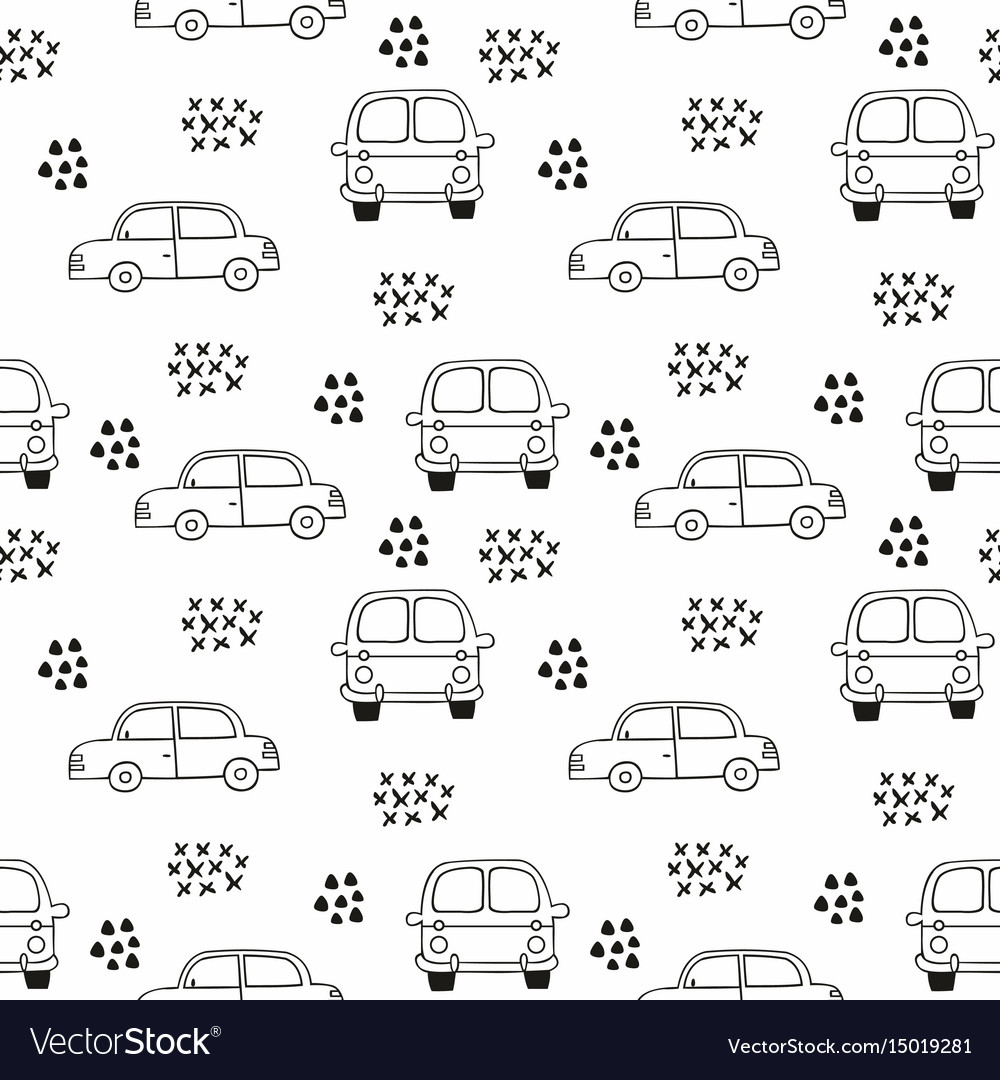 Childrens seamless pattern with cars outline