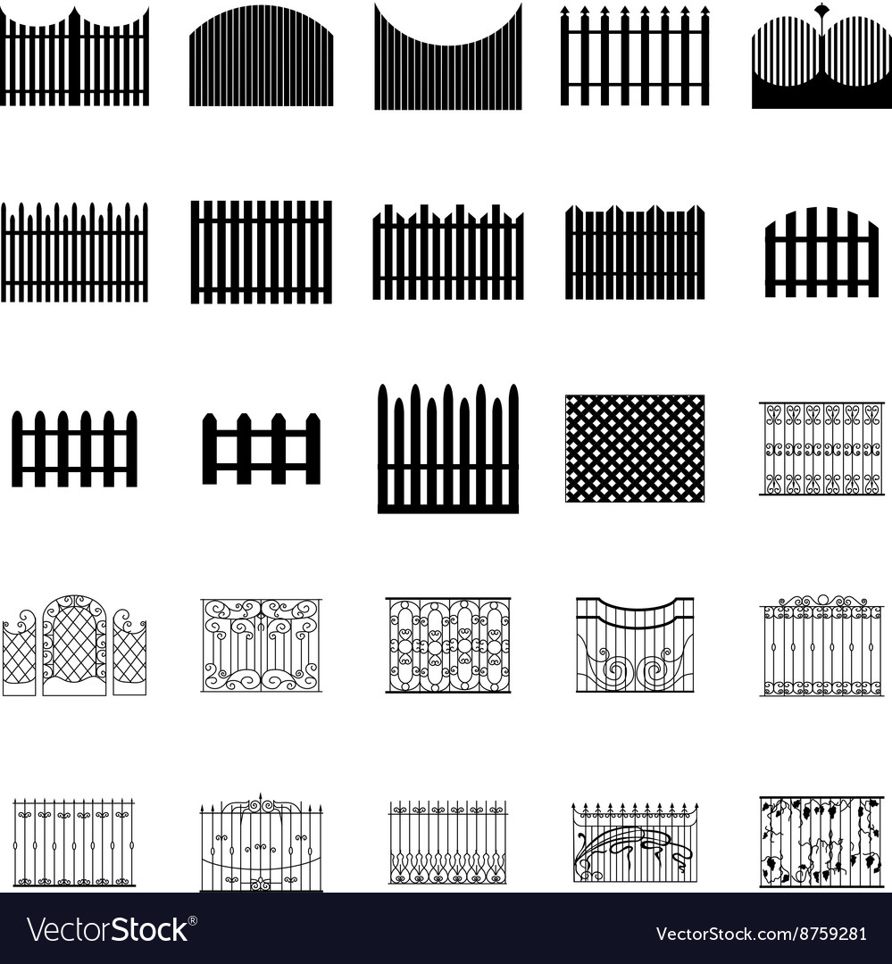 Fence silhouettes set
