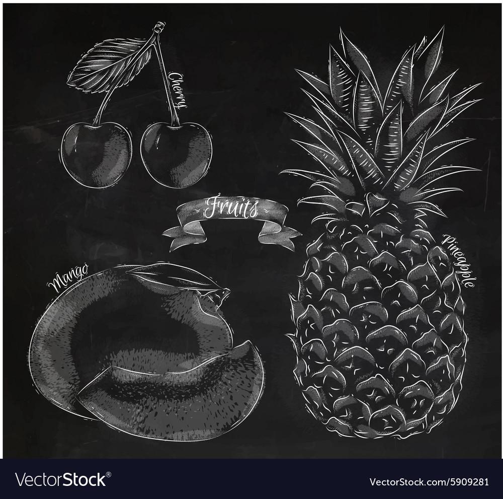 Fruit Cherry Mango Pineapple Chalk
