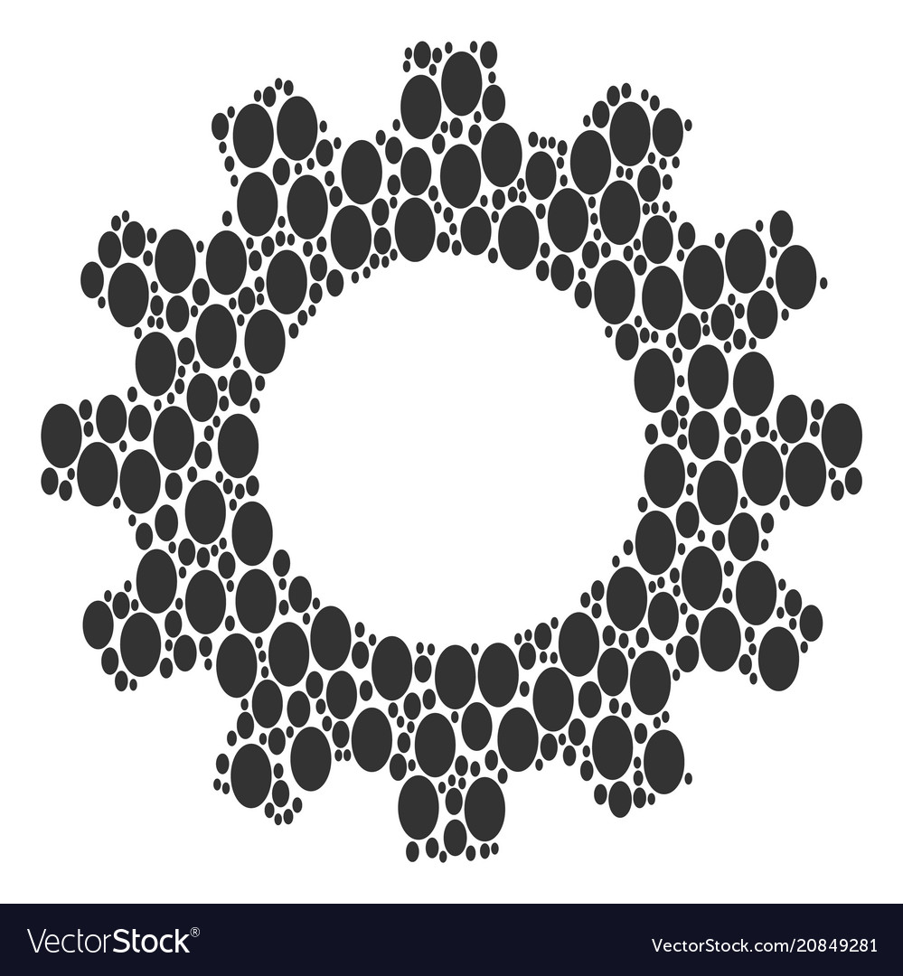 Gearwheel mosaic of filled ellipse icons Vector Image