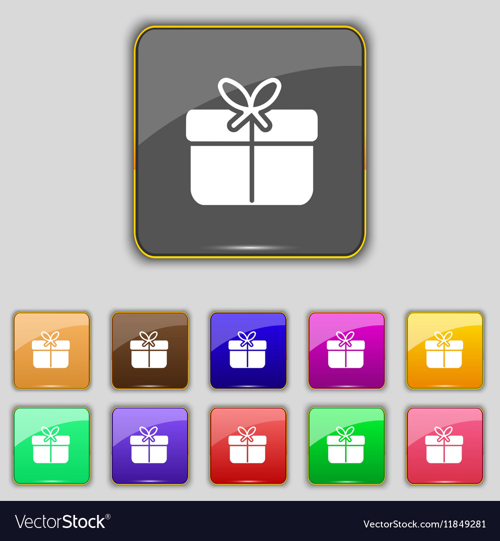 Gift box icon sign Set with eleven colored buttons vector image
