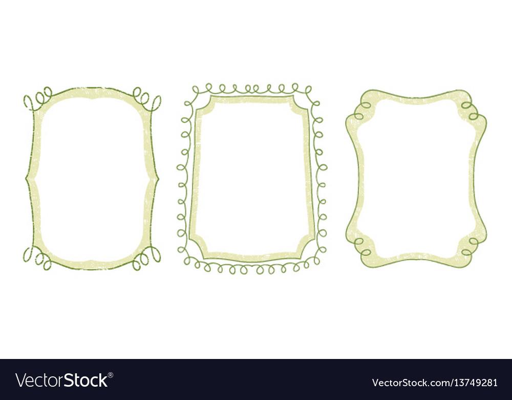 Green floral doodle hand drawn frame set