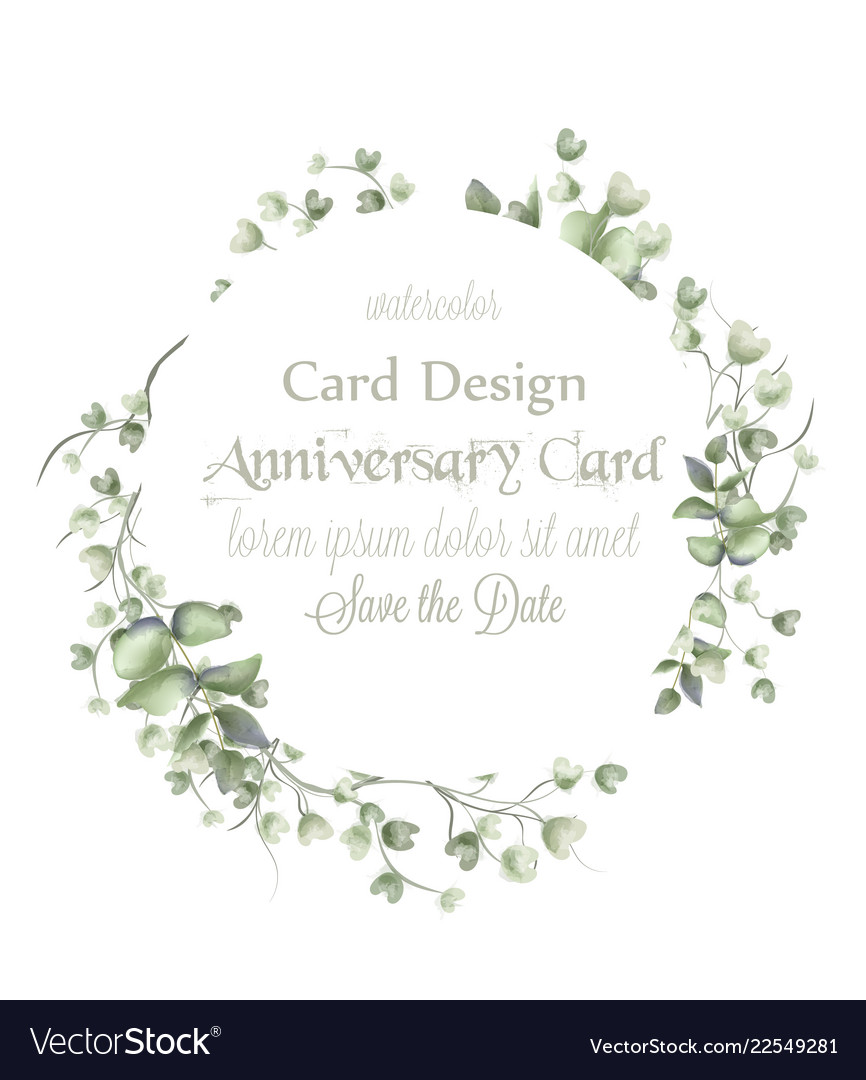 Greeting card frame with watercolor leaves