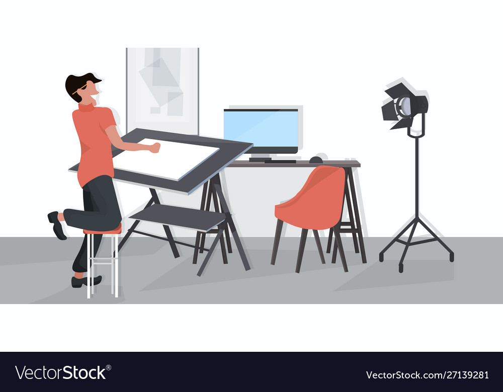 Male designer using adjustable board man planning