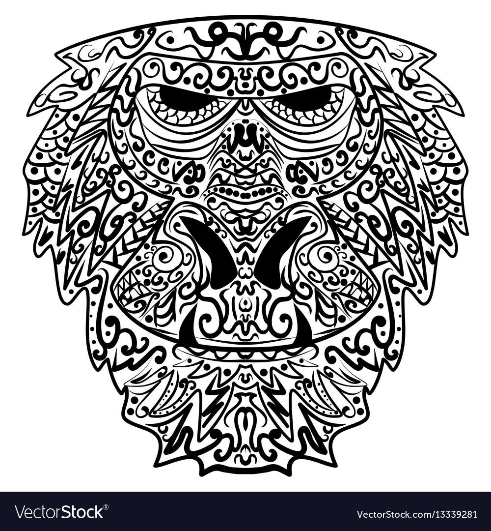 Monkey stylized zentangle style ethnic monkey