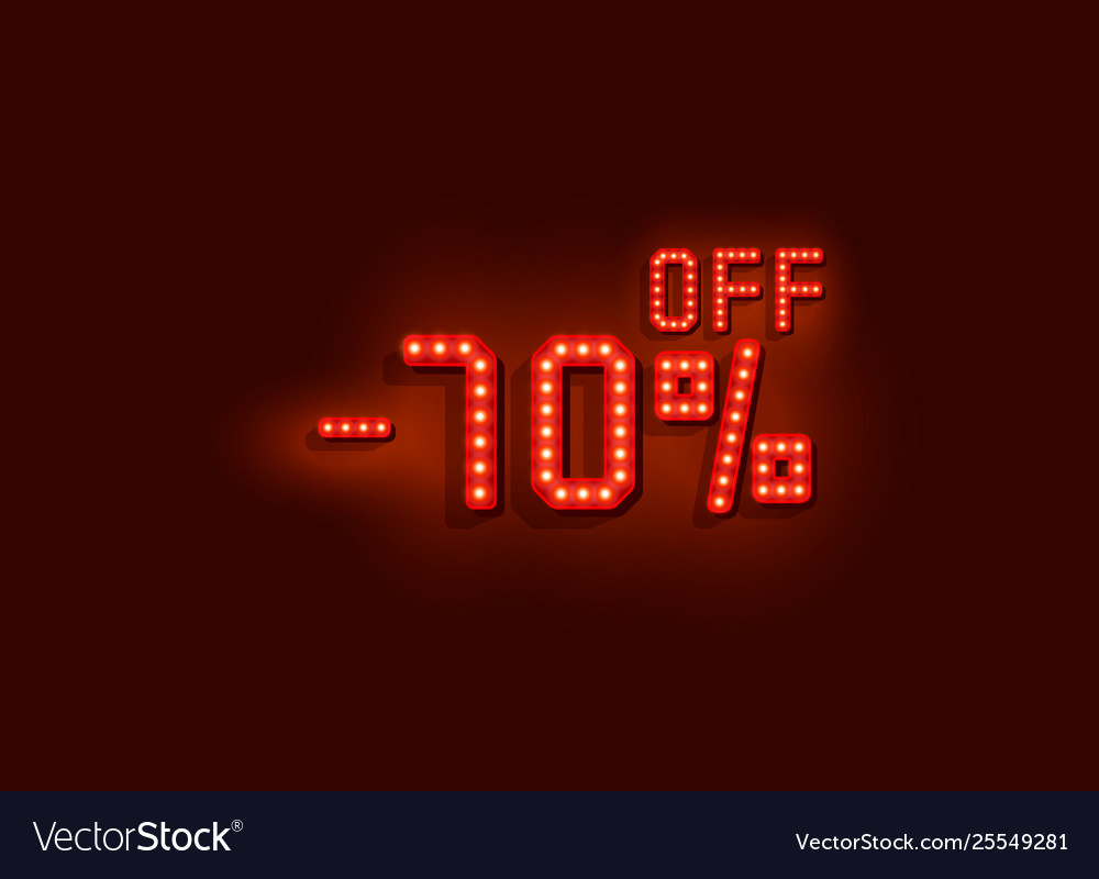 Neon 70 sale off text banner night sign