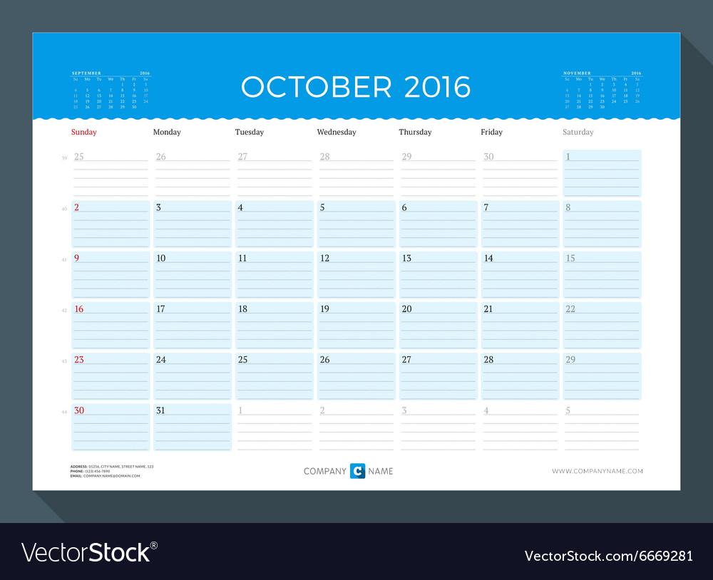 october 2016 monthly calendar planner for 2016 vector image